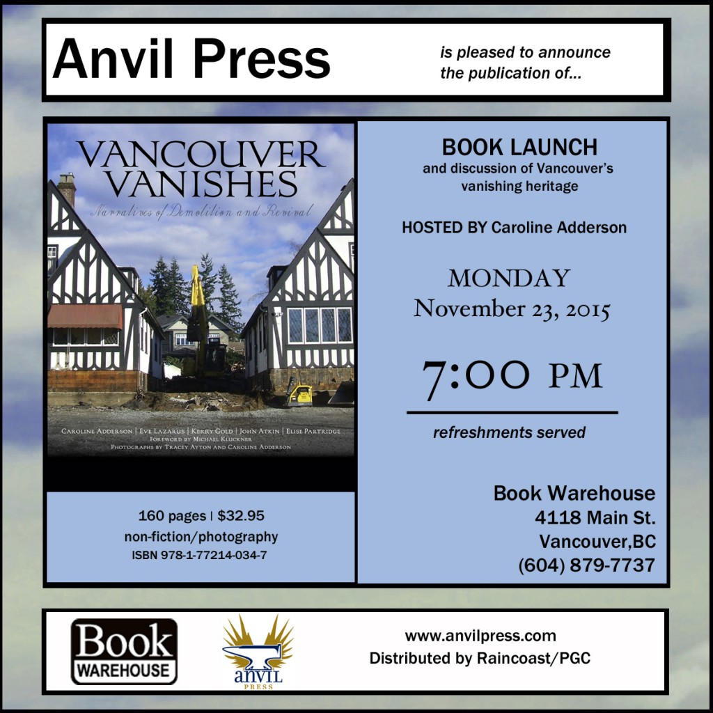 Vancouver Vanishes book launch